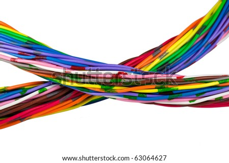 Color wires isolated on white - stock photo