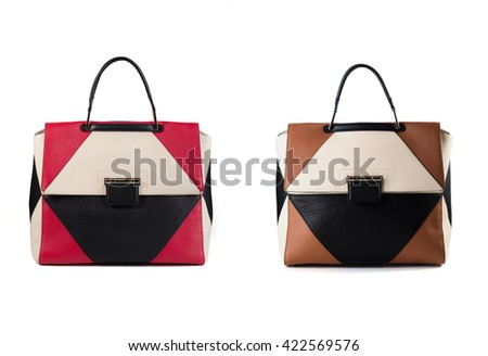 color women leather handbags isolated on white background