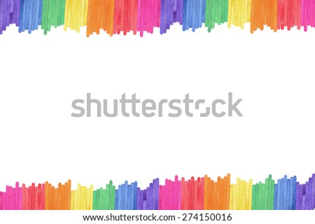 color wood ice-cream stick art frame background