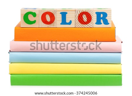 Color word formed by colorful wooden alphabet blocks, isolated on white background  - stock photo