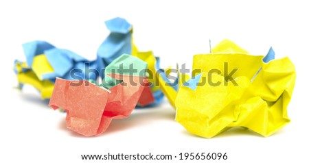 color wrinkled paper isolated on white background