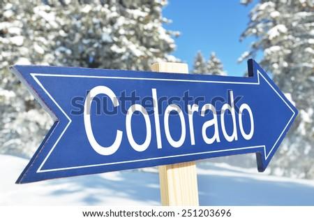 Colorado arrow against snowy forest - stock photo