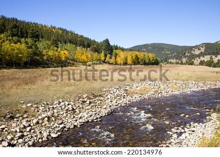 Colorado Aspens and Meadow Stream - stock photo