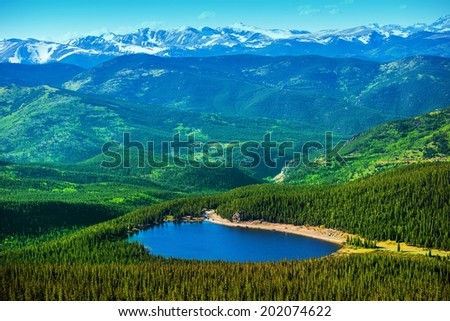 Colorado Echo Lake and Mountains Landscape Panorama. - stock photo