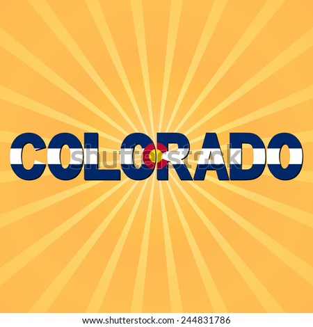 Colorado flag text with sunburst illustration - stock photo