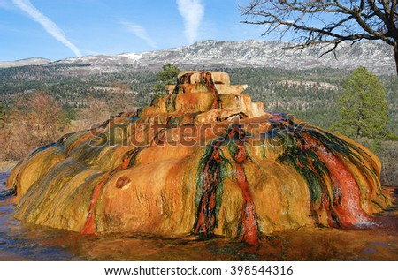 Colorado Hot Springs:  Geothermal activity creates colorful mineral deposits at the Pinkerton Hot Springs in southwest Colorado.
