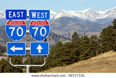 Colorado interstate 70 road signs, good travel background, mountains - stock photo