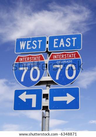 colorado interstate 70 sign - stock photo