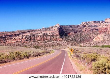 Colorado landscape - road in United States. Filtered colors style.