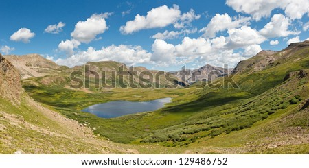 Colorado Mountain Lake Panorama, Rocky Mountains, USA - stock photo