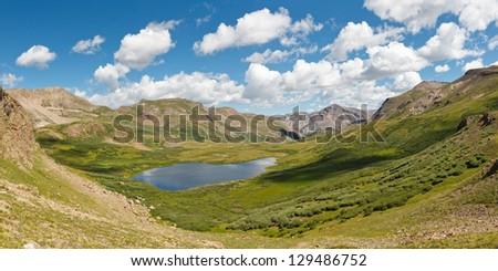 Colorado Mountain Lake Panorama, Rocky Mountains, USA - stock photo