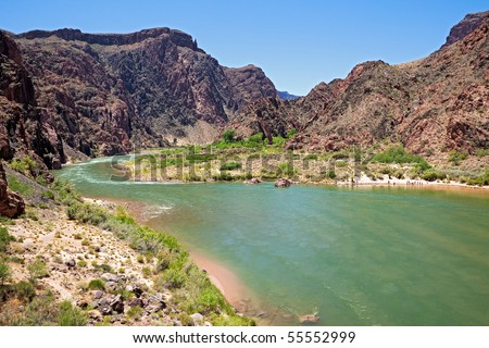 Colorado River at confluence with Bright Angel Creek, in Grand Canyon. - stock photo