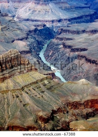 Colorado River at the bottom of the Grand Canyon - stock photo