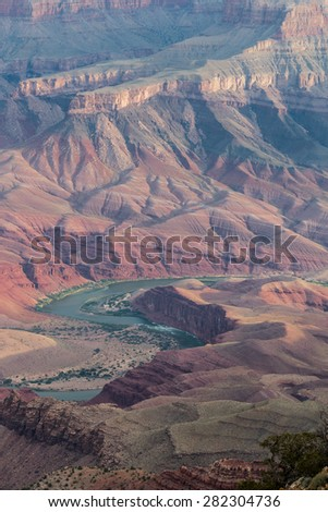 Colorado River Carving thru the Grand Canyon from the South Rim - stock photo