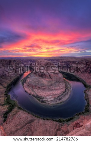 Colorado river, Horseshoe Bend at Sunset, Page, AZ. USA.  - stock photo