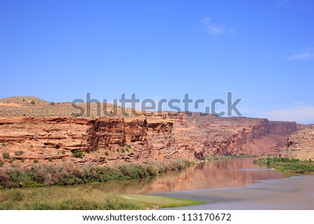 Colorado River outside of Moab, Utah, USA. - stock photo