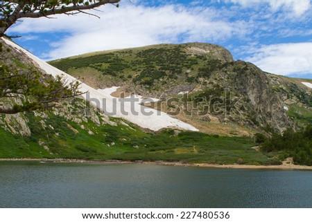 Colorado Rocky Mountain Glacier with Lake - stock photo
