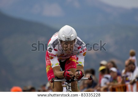 COLORADO SPRINGS, CO - AUG 22: Professional cyclist Bernard Van Ulden rides the prologue course of the 2011 USA Pro Cycling Challenge in Colorado Springs, USA on Aug 22, 2011 - stock photo