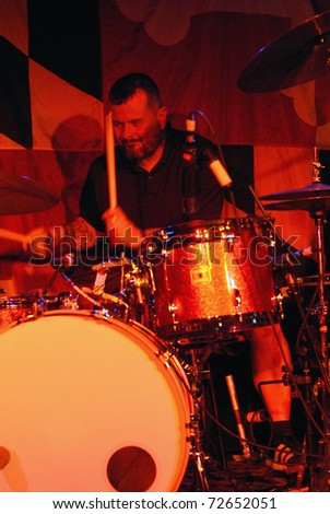 COLORADO SPRINGS, CO. - OCTOBER 6: Drummer Jean-Paul Gaster of the Heavy Metal band Clutch performs in concert on October 6, 2008 at the Black Sheep Theater in Colorado Springs, CO.