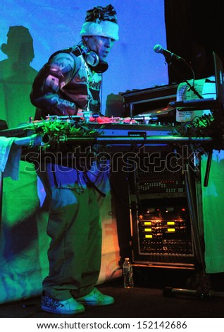COLORADO SPRINGS		NOVEMBER 30:		DJ Bobby B of the Alternative band the Kottonmouth Kings performs in concert November 30, 2011 at the Black Sheep music hall in Colorado Springs CO.