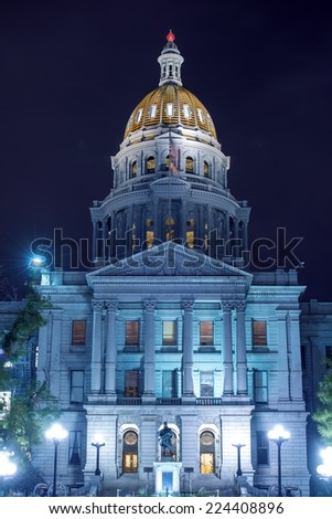Colorado State Capitol Building at Night. Downtown Denver, Colorado, United States. Designed and Constructed in 1890s. - stock photo