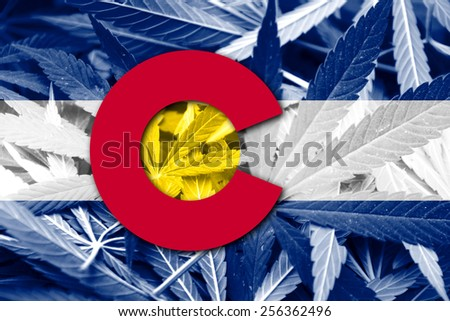 Colorado State Flag on cannabis background. Drug policy. Legalization of marijuana - stock photo
