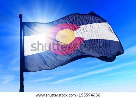 Colorado (USA) flag waving on the wind - stock photo
