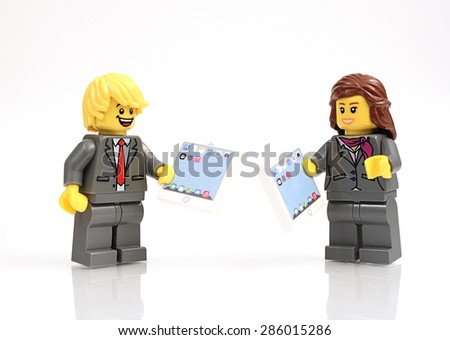 Colorado, USA - June 7, 2015: Studio shot of Lego minifigures. Legos are a popular line of plastic construction toys manufactured by The Lego Group, a company based in Denmark. - stock photo