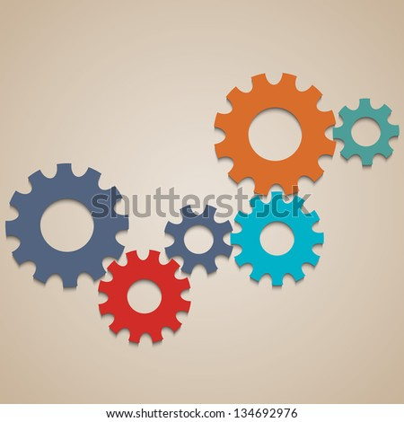 Colored abstract gear wheels. Raster version - stock photo