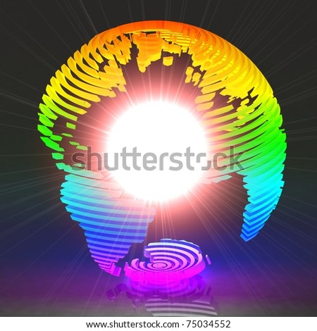 Colored abstract globe with light inside.