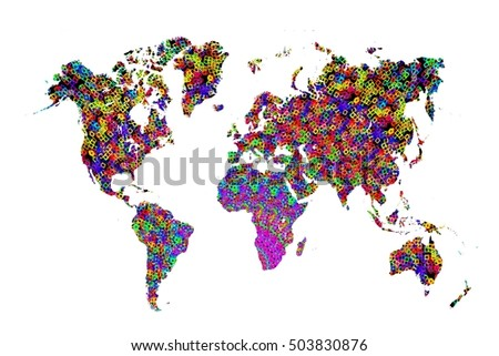 colored abstract pattern world map on white background.