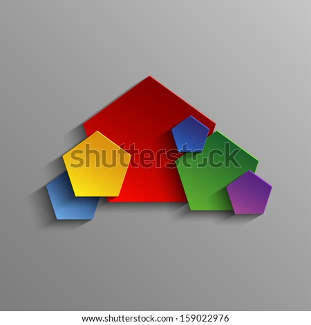 Colored abstract pentagon