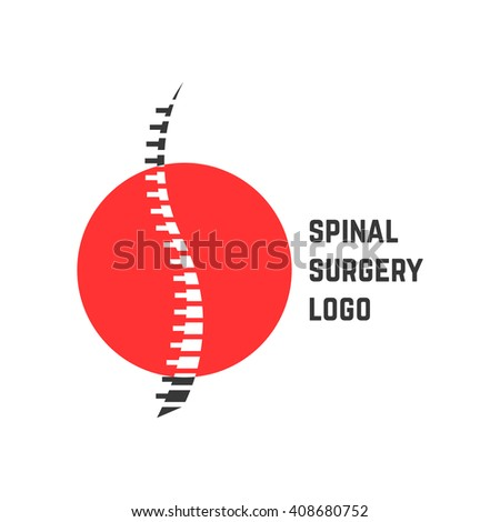 colored abstract spinal surgery logo. concept of vertebrae analysis, scoliosis, skeletal, hospital. isolated on white background. flat style trend modern brand logotype design illustration - stock photo