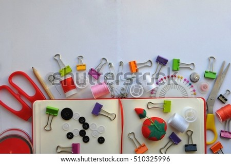 colored accessories sewing in a white background