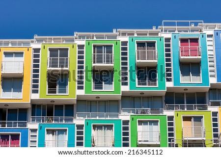 Colored apartments in Valparaiso, Chile. - stock photo