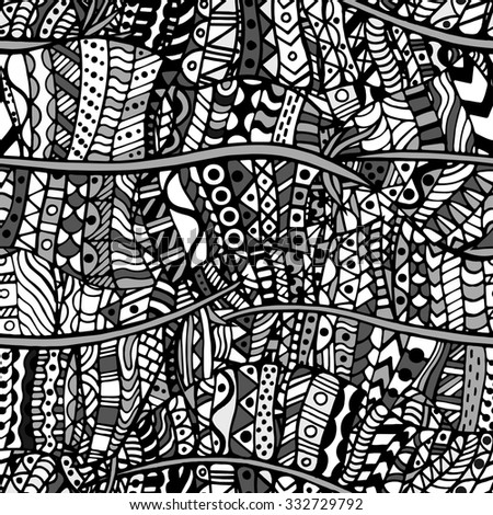 Colored Artistically ethnic pattern. Hand-drawn, ethnic, floral, retro, doodle, zentangle tribal design element. Pattern for coloring book.