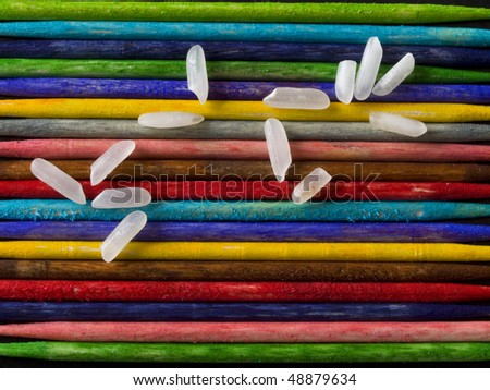 colored background with white rice