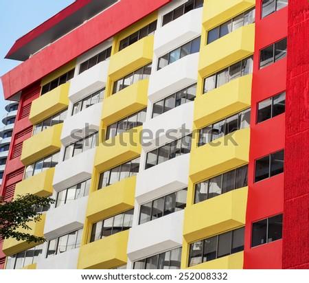 colored balconies on the street in Kuala Lumpur, Malaysia - stock photo