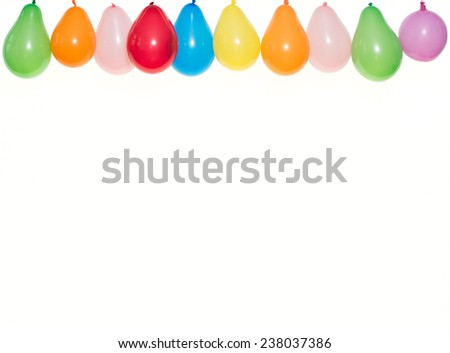 Colored Balloons hanging in a row - stock photo