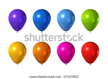 colored balloons isolated on a white background - stock photo