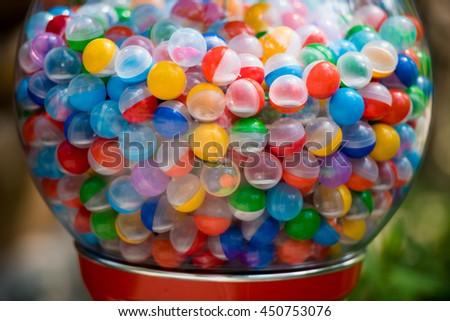 colored balls in the machine - stock photo