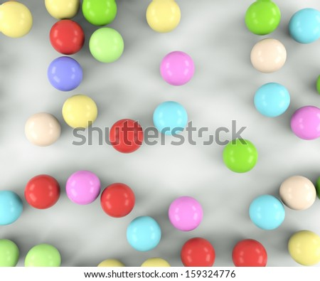 colored balls top view of a light background - stock photo