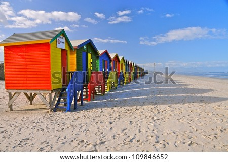 Colored Beach Huts, Cape Town, South Africa - stock photo