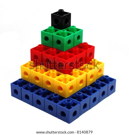 Colored Block Tower of Squares Series - stock photo
