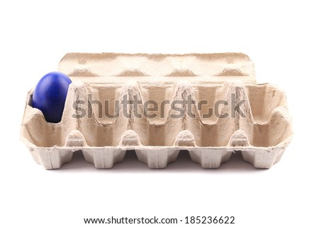 Colored blue egg in egg carton. Isolated on a white background.