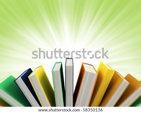 colored books isolated on green - stock photo