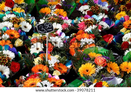 colored bouquet of autumn flowers - stock photo