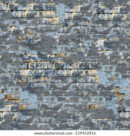 Colored Brick Wall with Cracks and Spots. Seamless Tileable Texture. - stock photo