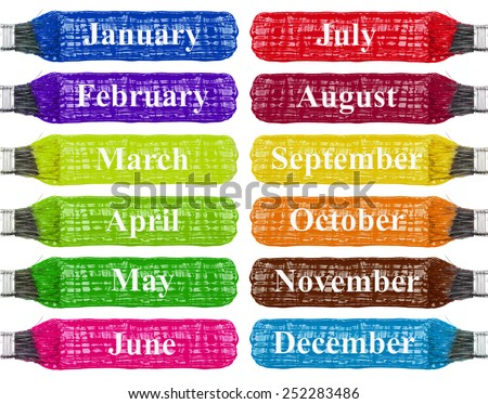 Colored brush strokes, calendar, rainbow isolated on white, Month: January February March April May June July August September October November December - stock photo