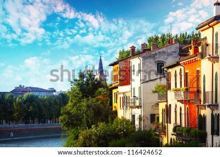 Colored buildings of Verona city. Italy - stock photo